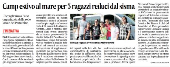 Camp estivo al mare per 5 ragazzi reduci dal sisma By Corriere Adriatico
