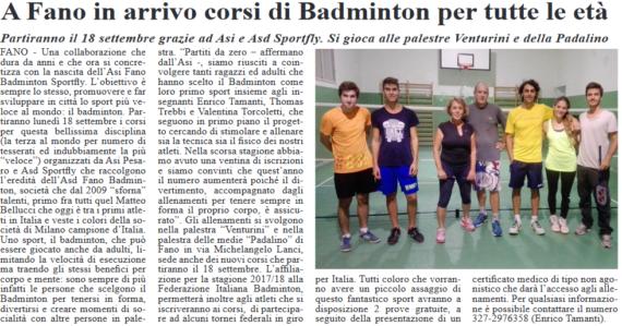 A Fano ripartono i corsi di Badminton targati SSD SportFly by Fano Informa