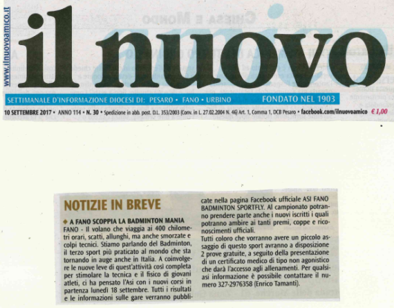 A Fano scoppia la Badminton Mania by Il Nuovo Amico