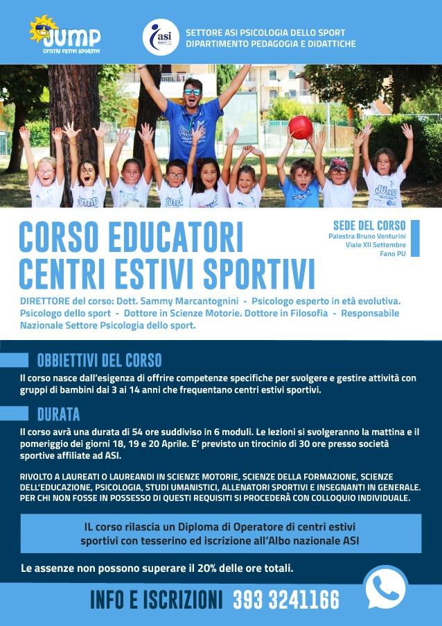 """Istruttore """"Centri Estivi Sportivi"""""""