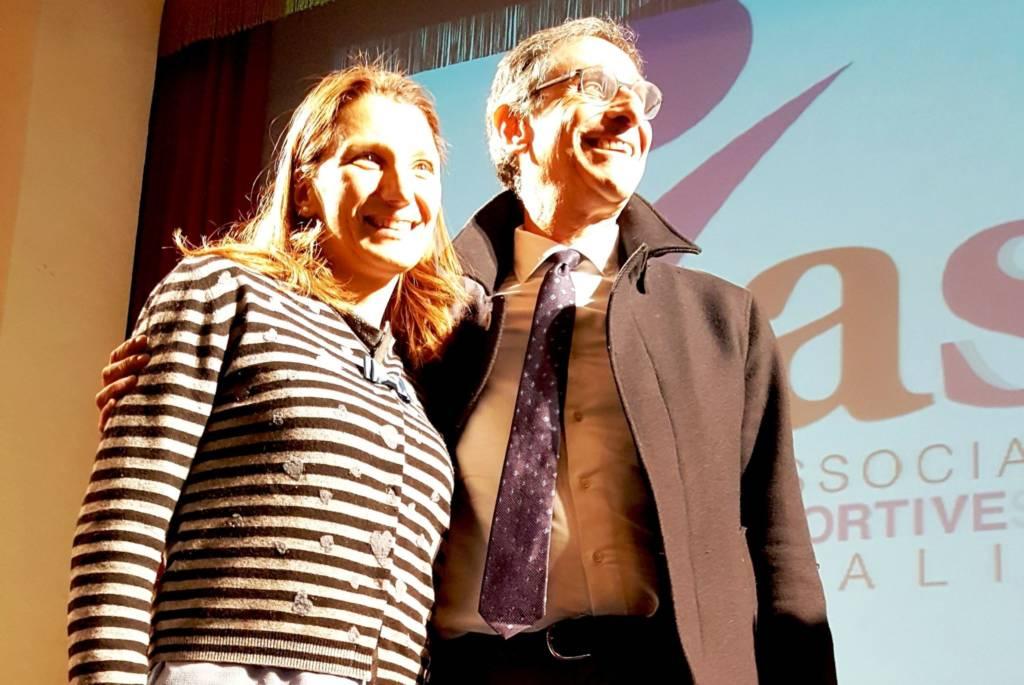 Francesca Petrini insieme al Presidente di ASI Nazionale Claudio Barbara