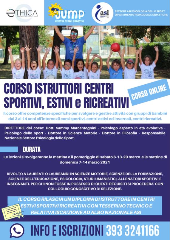"""Istruttore """"Centri Estivi Sportivi e Ricreativi"""" – CORSO ON LINE"""